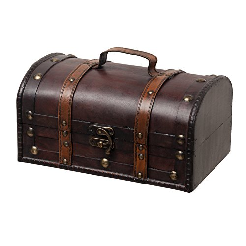 SLPR Decorative Treasure Wooden Trunk - Brown with Straps | Antique Wood Chest Box