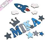 Holzbuchstaben, Dekobuchstaben, Kinderzimmer Tür in tollen Farbkombinationen I Inkl. 2 Sternen sowie Klebepads I Perfektes Geburtsgeschenk oder Taufgeschenk I Größe 7cm
