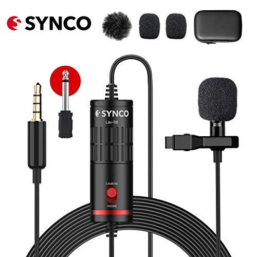 SYNCO Lav S6 Microfono-Lavalier-Microfono-a-Clip Condensatore Omnidirezionale 6 Metri / 19,7 Piedi, Compatibile per Fotocamere, Cellulari, Videocamere, Registratori Audio, Mixer, Computer