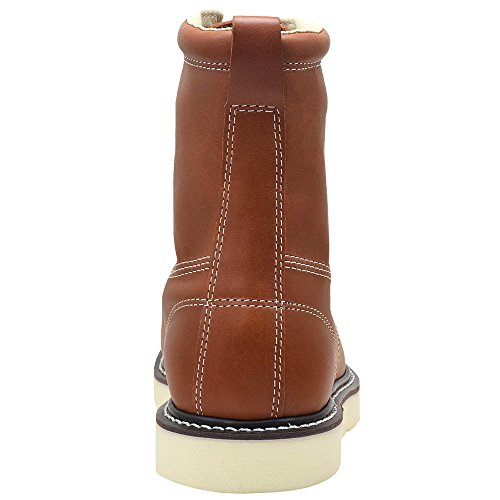 King Rocks Men's 8″ PU Wedge Construction Work Boots Moc Toe 8.5 D(M) US, Brun