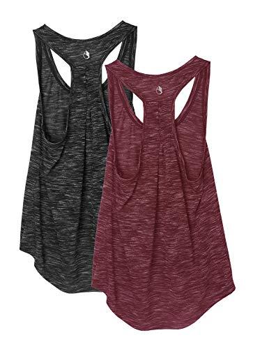 icyzone Pack de 2 camisetas de tirantes para mujer, transpirables, para entrenamiento, correr, con espalda cruzada, estilo casual, Negro/rojo vino., L