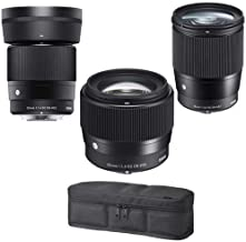 Sigma Contemporary Lens Bundle Includes 16mm f/1.4 DC DN - 30mm f/1.4 DC DN 56mm f/1.4 DC DN for Micro Four Thirds, Black Soft Padded Lens Case, Holds 3 Lenses