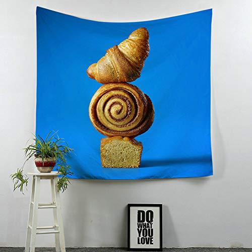 Beydodo Tapisserie Wandbehang Croissant Brot Wandteppich Psychedelic 150×130CM Wandteppich Vintage