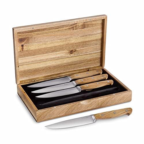 Steakmesser-Set, 4 Stück mit edlen Olivenholz-Griffen, Besteck-Set mit Holzgriffen, 12,5 cm Klingenlänge aus deutschem Stahl inkl. Geschenkbox