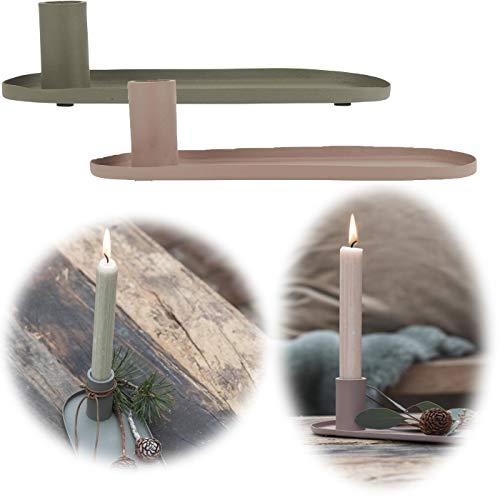 LS-LebenStil Metall Kerzenständer 23cm Grün Vintage Kerzenschale Stabkerzenhalter Kammer-Leuchter