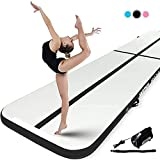 Murtisol 13ft Inflatable Gymnastics Training Mats Tumbling Mats 4 Inch Thickness for Home Use/Training/Cheerleading/Yoga/Water with Electric Pump Black