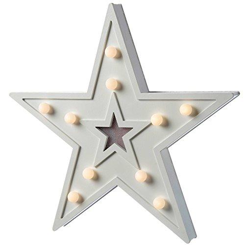 WeRChristmas - Decorazione Natalizia da Tavolo, a Forma di Stella, con 10 LED a Luce Bianca Calda, in Legno, 29 cm, Colore: Bianco