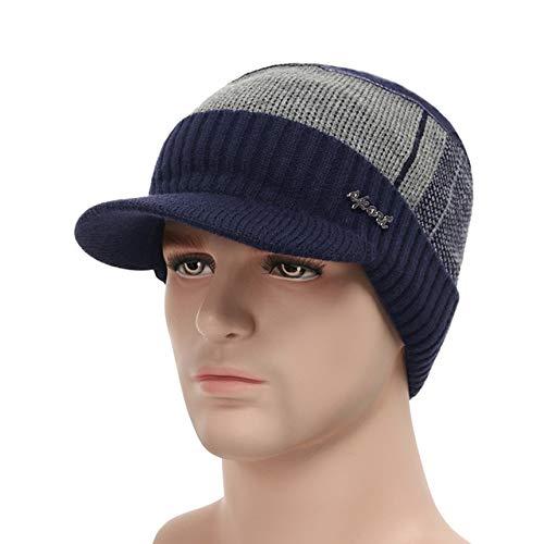 Sombreros de Invierno para Hombres Skullies Beanie Hat Gorro de Invierno Hombres Mujeres Bufanda Gorras ConjuntoMáscara Gorras Bonnet Sombrero de Punto-Navy Hat