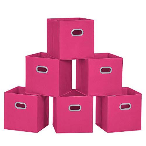 MaidMAX Storage Bins 12x12x12, for Home Organization and Storage, Toy Storage Cube, Closet Organizers and Storage, with Dual Plastic Handles, Fuchsia, Set of 6