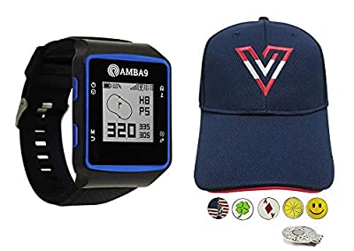 Amba9 GPS Golf Watch Bundle with 1 Volvik V-Logo Golf Hat (Adjustable), 5 Ball Markers and 1 Hat Clip - Rangefinder with Preloaded Courses, Step Tracking, Distance to Hole Measurements