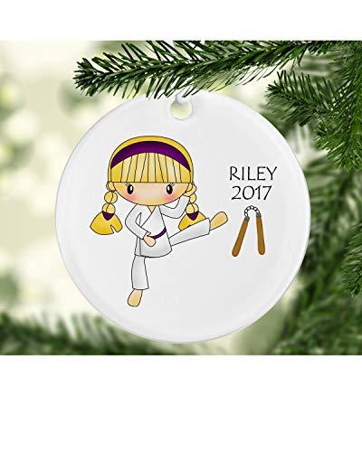 73Elley Blonde Girl Martial Arts Ornament Martial Arts Ornament Girl Ornament Girl Ornaments Tae Kwon Do ornament Karate ornament