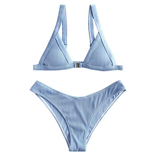 ZAFUL Women's Straps Textured Ribbed Front Closure High Cut Bikini Set Swinsuit (Silk Blue, M)