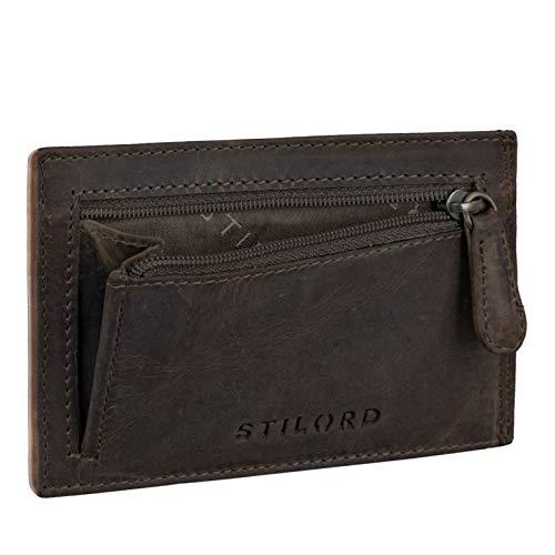 STILORD 'Trevor' Cartera Tarjetero Hombre Portamonedas NFC Bloqueo Monedero Clásico Cartera Pequeña Billetera Portatarjetas de Piel Genuino, Color:marrón Oscuro