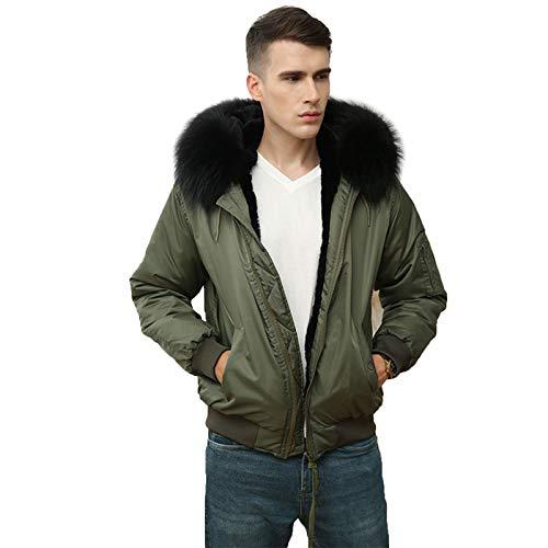 Abrigo de Piel de Invierno para Hombre Hermoso y cálido Parka Verde Militar Cuello de Piel Negro con Forro de imitación Chaqueta de Piel Corta,3XL