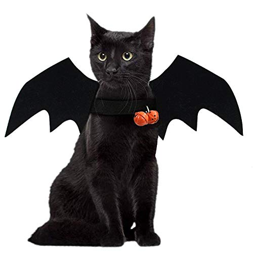 JHFY Cat Bat Costume - Black Cat Bat Wings Cosplay - Pet Costumes Apparel for Cat Small Dogs Puppy for for Small Dogs and Cats Dress Up Accessories (Bat Wings)
