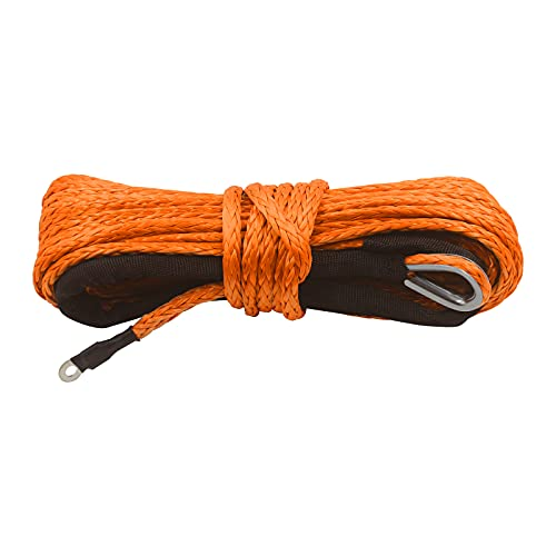 """TYT 1/4"""" x 50ft Synthetic Winch Rope, 8200 lbs Winch Line Cable Rope with Black Protective Sleeve and Sheath, 12 Strands Braided Ultra Tough Nylon Rope, Fit for Off Road Vehicle ATV UTV SUV (Orange)"""
