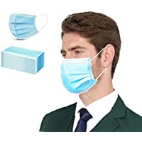 50-Pack DXLOVER 3-Ply Disposable Face Masks with Ear Loop (Blue)