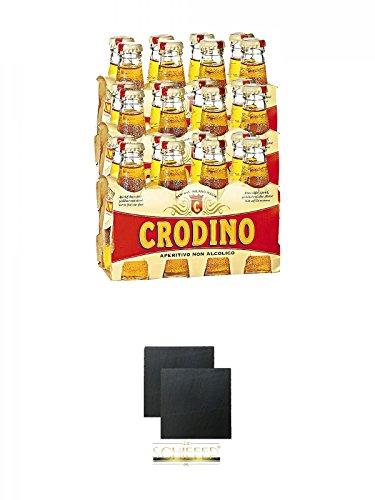 Crodino Bitter Aperitif Italien 24 x 98 ml + Schiefer Glasuntersetzer eckig ca. 9,5 cm Ø 2 Stück