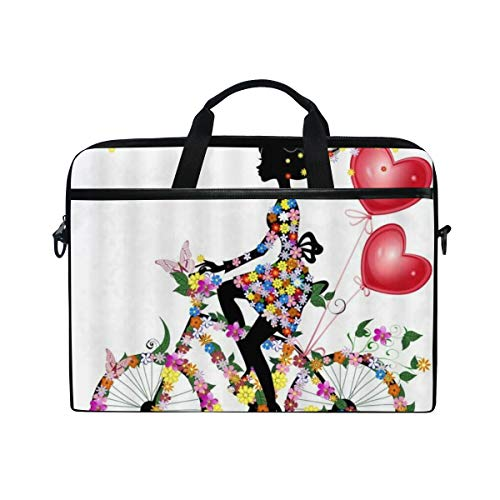 FOURFOOL 15-15.6 inch Laptop Bag,Pink Butterfly Girl Red Balloon Colorful Fairytale Flower,New Canvas Print Pattern Briefcase Laptop Shoulder Messenger Handbag Case Sleeve