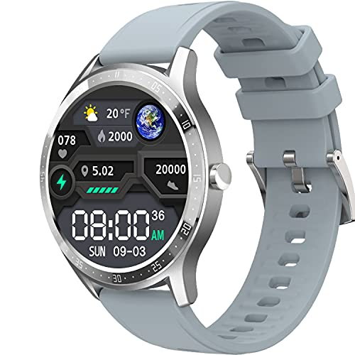 Fire-Boltt 360 SpO2 Full Touch Large Display Round Smart Watch with in-Built Games, 8 Days Battery Life, IP67 Water Resistant with Blood Oxygen and Heart Rate Monitoring (Grey), M (Model Number: BSW003)
