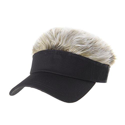 WITHMOONS Flair Hair Sun Visor Cap with Fake Hair Wig Novelty KR1588 (Black)