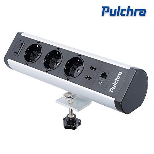 Pulchra Tischsteckdose 3 Fach horizontale Tischsteckdosenleiste Mehrfachsteckdose mit 2 USB-Anschlüsse, Steckdosenleiste Mehrere Stile, für Büro (3 Socket/1 Switch)