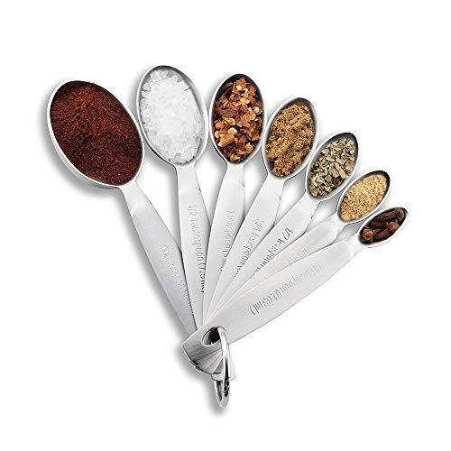 LLS Stainless Steel Measuring Spoon Kitchen Measure Spoon for Coffee, Supplements, Flour, Grains, Lentils, Spices Sets of 7 0619