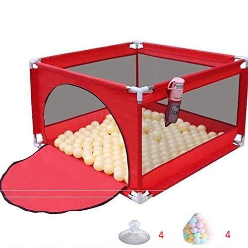 Unknow 22 sq ft rojoCuna Plegable Bebe con Malla Transpirable,4 Piezas Piscinas De Bolas Niños para Bebes Y Niños