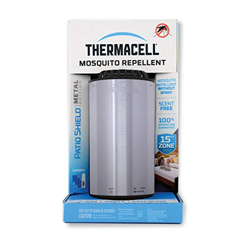 Thermacell Metal Edition Patio Shield Mosquito Repeller, Nickel; Effective Mosquito Repellent; No Candles or Flames, DEET-Free, Scent-Free, Bug Spray Alternative; Includes 12-Hour Refill
