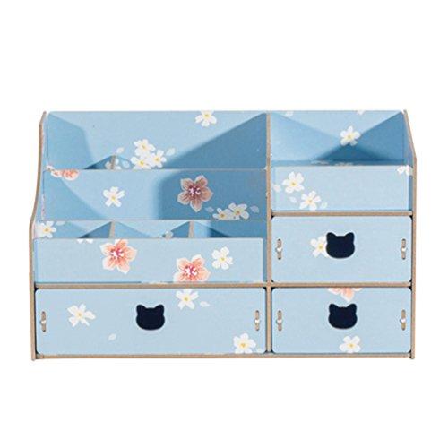 Anguang Kosmetische Aufbewahrungsbox Holz- Schublade Tasche Holzschublade Box Blau
