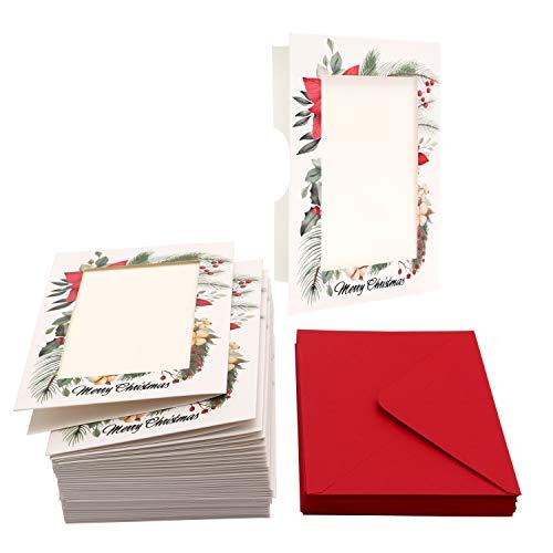 """Belle Vous Tarjeta de Navidad para Foto (36 Piezas) Tarjetas Personalizadas Navidad para Foto 5"""" X 7"""" con Sobre Rojo, Perfecto para Foto de Navidad Familiares y Amigos- Tarjetas Navidad Personalizadas"""