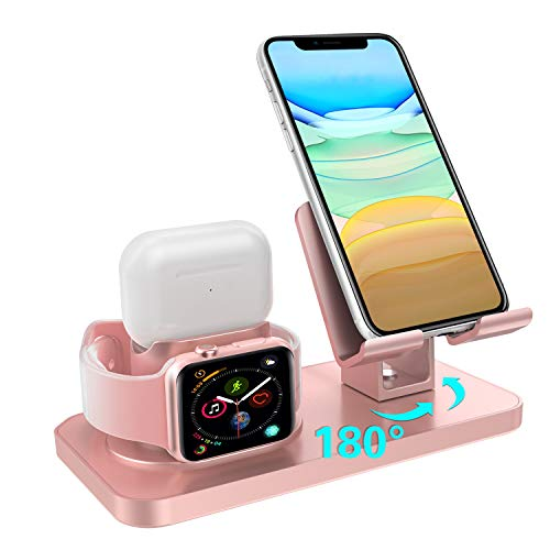 Charging Stand for Apple Watch Series 6/5/4/3/2/1 Airpods Pro/2/1 GUAGUA 3 in 1 Rotating Charging Dock Station for iPhone 12 11 Pro Max X XS XR 8 7 SE 2020 Samsung Note 20 Ultra S10 S20 Plus Rose Gold