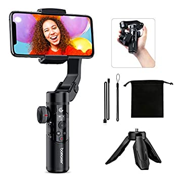 Bomaker Gimbal Stabilizer for Smartphone 3-Axis Phone Gimbal Handheld Stabilizer Foldable with OLED Screen and Tripod 3D Inception Hitchcock Time-Lapse AI Tracking for Vlog Youtuber Live Video