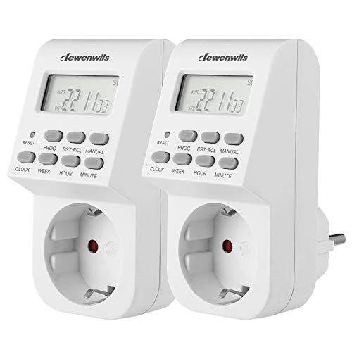 DEWENWILS Digitale Zeitschaltuhr Steckdose, Zeitschaltuhr Digital mit 20 konfigurierbaren Schaltprogramme, LCD Display, für Lampen, Ferienbeleuchtung und Haushaltsgeräte (16A / 3840W)