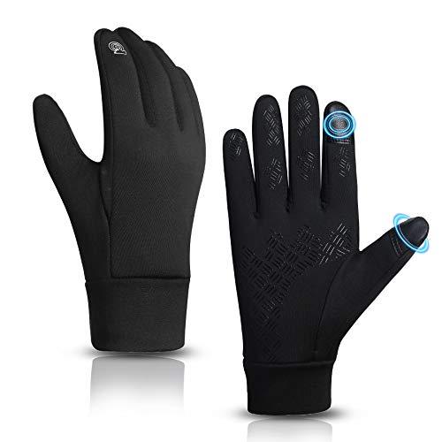 KELOYI Handschuhe Herren Damen Fahrradhandschuhe Touchscreen Winter Winddicht Rutschfest Winterhandschuhe Outdoor Warme Motorrad Fahrrad zum Laufen Wandern Reiten Schwarz (Schwarz, Large)