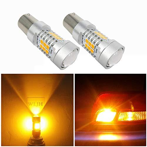 WLJH Lot de 2 ampoules LED super lumineuses jaune ambré BAU15S 7507 1156PY PY21W non polarité haute puissance pour conducteur IC 10 V-30 V pour clignotants, feux de position latéraux
