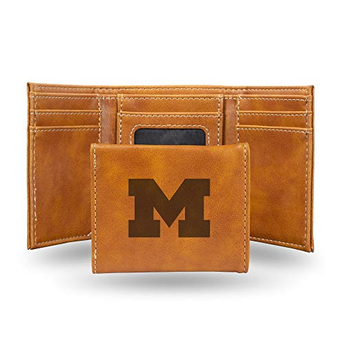 NCAA Rico Industries Laser Engraved Trifold Wallet, Michigan Wolverines