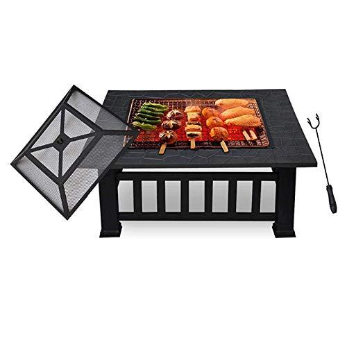 Chimenea con rejilla para barbacoa, grande 3 en 1 de metal al aire libre brasero cuadrado mesa fogata jardín patio calefactor/barbacoa con cubierta impermeable