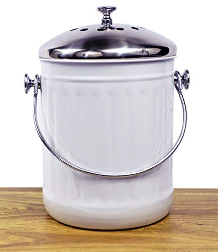Why Choose Indoor Kitchen Stainless Steel Compost Bin – White – 1.2 Gallon Container with Double...