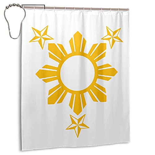 Stars and Sun Filipino Philippines Flag Bathroom Curtain, Designed for Use in The Bathroom with a Decorative Waterproof Shower Curtain Set with 12 Hooks, 60x72 Inches