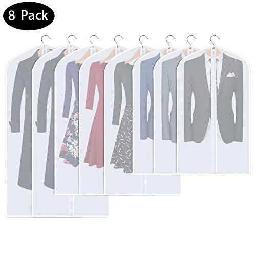 DIAOCARE Kledingzak, 8 stuks, 60 x 100 cm, 60 x 120 + 60 x 140 cm, transparant, kledingzakken met ritssluiting, ademend, stofdicht, bescherming, kledinghoes, kledingzakken voor kostuums, jurken, mantels, colbers, overhemden