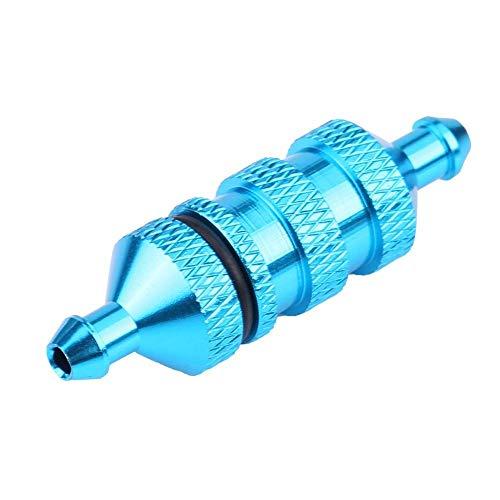 Filtro de Combustible de Aceite de Coche RC, Filtro de Combustible Nitro de Aceite de Aluminio de Aleación HSP para Coche Modelo RC a Escala 1/8 1/10(Azul)