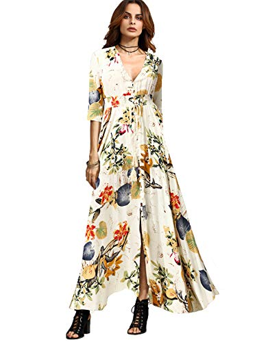 Milumia Women's Button Up Split Floral Print Flowy Party Maxi Dress Beige Medium