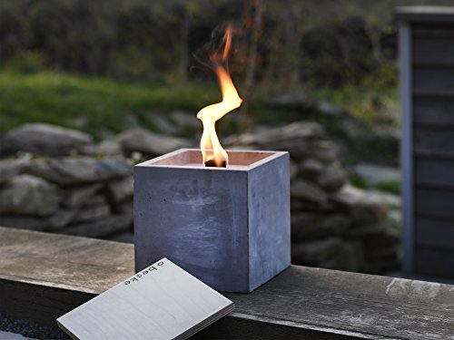Beske Concrete Fire with permanent wick | Size 17x17x17 | Refillable garden torch in timeless, puristic design | 'Infinite' burning time through environmentally friendly recycling of candle wax