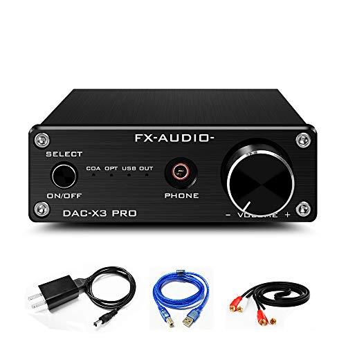 FX AUDIO DAC and Headphone Amplifier Mini HiFi Stereo Home Audio DAC Converter ESS9023 CS8416 USB Optical Coaxial Input and RCA Headphone Amp Output DAC-X3 PRO Digital to Analog Converter (Black)