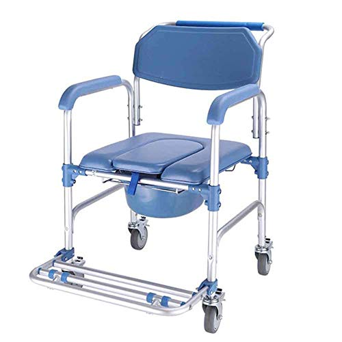 4 in 1 commode stoel, met toiletstoel op wielen, opvouwbare commode mobiele stoel, rolstoel douchestoel, 4 wieldop (360°)
