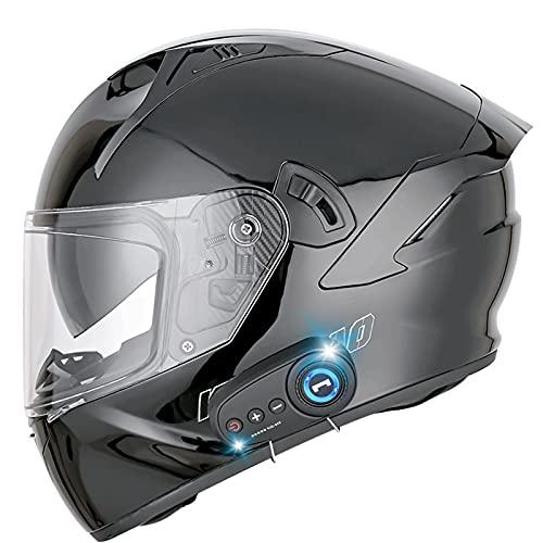 ZHANGYUEFEIFZ Bluetooth Casco Moto Integral, Casco de Moto Scooter para Mujer Hombre Adultos con Anti Niebla Doble Visera, Casco Integrado ECE Homologado con 1200mA Auriculares Bluetooth