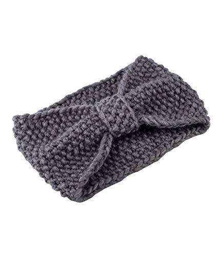 YSTRDY Damen Stirnband, Haarband, Kopfband, Grobstrick, Knitwear, Gestrickt, Knoten, Schleife, grau (490-608)