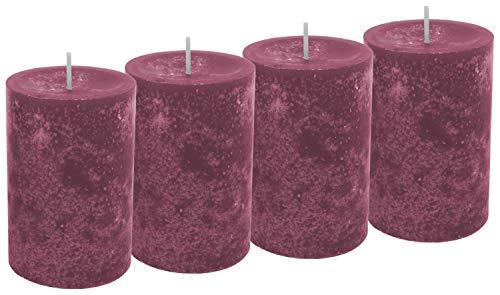 Unbekannt 4 Stumpenkerzen Kerzen Erika Beere Pink Violett Adventskranz Weihnachten Tischdeko Deko