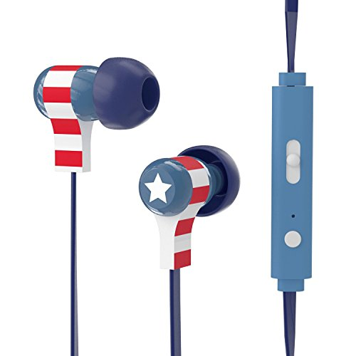 Tribe Marvel - Auriculares in-ear con cable y micrófono I In-Ear estéreo para para Iphone, Android, Movil, PS4, XBOX, PC, Computador - diseño Captain America